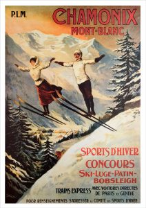 Chamonix - Two Jumpers Ski Poster